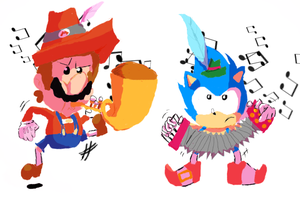 Mario and Sonic at the Polka-lympic Games by bulgariansumo