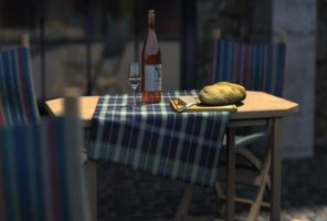 table with bottles and bread by handsomeape