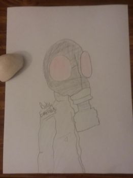 Red Eyed Gas Mask Man by BebeEmerald