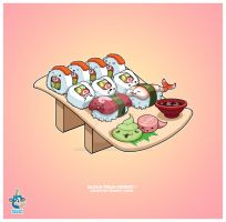 Kawaii Sushi C Roll Nigiri 37k by KawaiiUniverseStudio