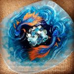 Japanese Fighting Fish Large Glass Shallow Plate by TheLoveofNatureArt