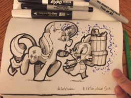 Inktober Day 5 - Rarity and Spike by SupaCrikeyDave