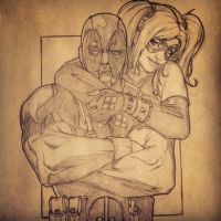 Sketch sessions: Deadpool and Harley Quinn by Gay-san