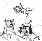 Two dogs and an upsidedown cat by KidGalactus