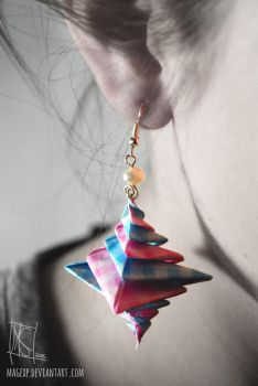 Pastel Blue-Pink Spiral Origami Earrings :ON SALE: by MaGeXP