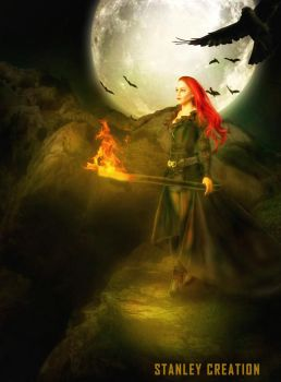 redhaired lady with a torch by Stanley-ontheroad
