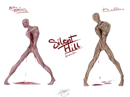 Silent Hill~ ArmlessMan Before and After Drawings by RoomsInTheWalls