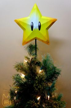 Mario Super Star Tree Topper Papercraft (Tutorial) by studioofmm