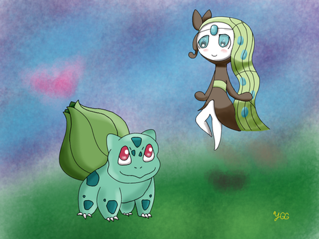 PAX East 2014 Exclusive #2: Meloetta and Bulbasaur by YoshiGamerGirl