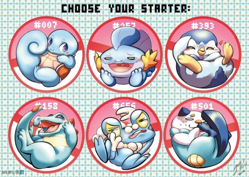 Choose Your Starter! Water pokebuns by JerkArts