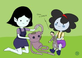 Little Marcie and Dipper play with dolls by Kairu-Hakubi