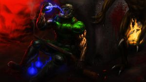 Doomguy low on health by Finfr0sk