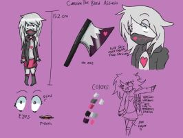 Caroline the Blind Assasin ref sheets by Trasochist