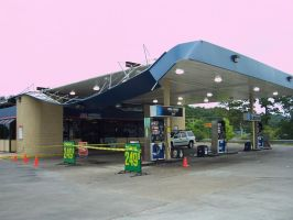 Wind damaged gas station by caspercrafts