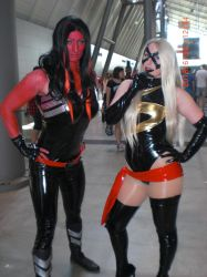 Red She-Hulk and Miss Marvel by Branded-Curse