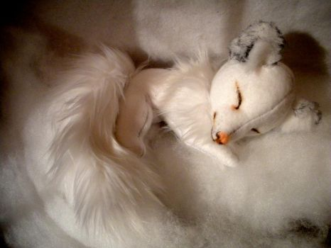 Sleeping Baby Arctic Fox by WhittyKitty