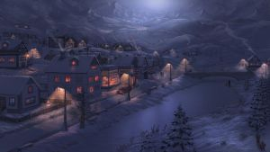 snowy winter evening-with colors.jpg by Fel-X