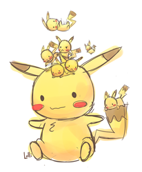 Whole bunch of Pikachus by CrystalBluePuppy