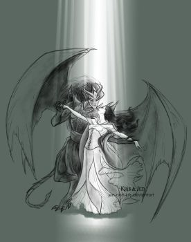 Commissions. Gargoyle and Beauty by jen-and-kris