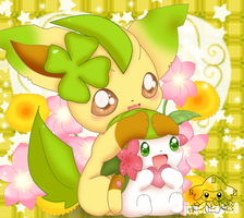 Leafeon and Shaymin