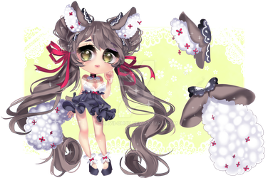 [OPEN]Chibi Adoptable 5 - Flushumi Pink Flower by Mavii-chuu