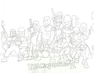 Team Fortress 2 Meet the Team (Sketch) by Mario28037