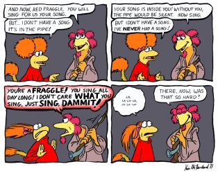 Fraggle comic: Minstrel Pains by Negaduck9