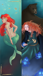 Ariel and Merida bookmarks by theangelofchaos