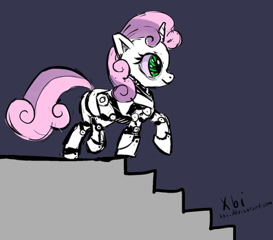 Sweetie Bot is on the stairs and almost fell by xbi