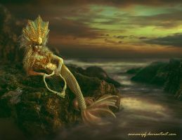 Sunset Mermaid - Golden Version by annewipf