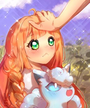 Pokemon Sun ~ Moon : Head pat for Lillie by wryn-negade