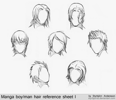 Manga boy/man hair reference sheet I by RinFaye