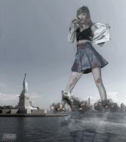 Giantess Taylor Swift - Snacking On the Big Apple by GiantessStudios101