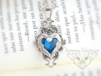 Sapphire Crystal Glass Stone necklace,Sapphire Pen by Storyteller28