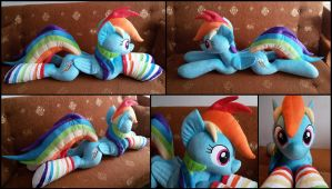 Lifesize Rainbow Dash plush with socks by RosaMariposaCrafts