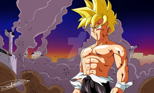 Gohan in the streets of a destroyed West City by ChibiDamZ
