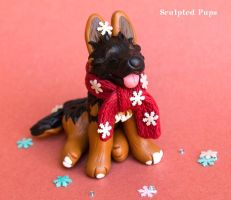 Leia German Shepherd Pup with a scarf commission by SculptedPups