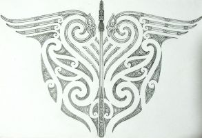 maori tribal and taiaha back tattoo design by savagewerx