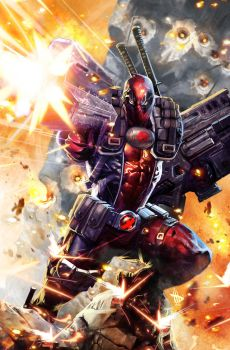 Deadpool in Cable's undies by Dave-Wilkins