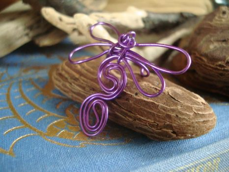 Purple Dragonfly Ear Cuff by TheWingedBoggart