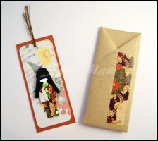 Sold - Bookmark-Little Japanese Doll-Brown by SuniMam