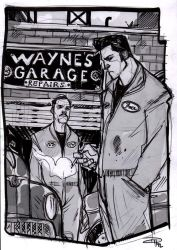 Bruce Wayne and Alfred - Rockabilly Re-Design by DenisM79