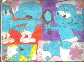 More Sketch Pad Smurfs by RozStaw57