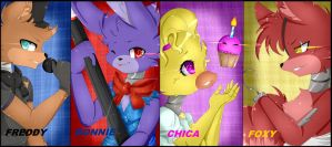 Fnaf Poster!!! Thank you for + 450 watch! by Clefficia