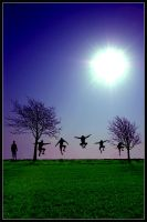 Jumping in a line by MartheMa
