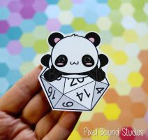 Chibi Panda on d20 Stickers and Magnets by pixelboundstudios