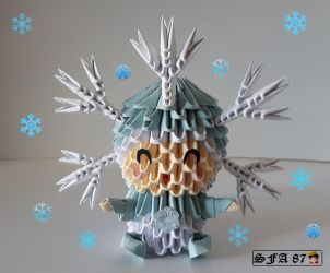 Sfa87 2 1 Snowflake Kid Origami 3d By