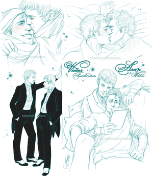 Penny Dreadful - Aron+Victor Sketches P1 by RedPassion