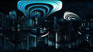 Fractal Space City of Fire and Water: Waterlisk by Jakeukalane