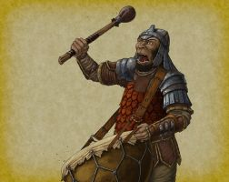 Orc Drummer by quellion
